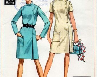 1960s A line Dress Pattern Simplicity 7850 Vintage Sewing Pattern Mock Wrap Side Buttoned Effect Mod Dress Bust 32.5 FF Unused