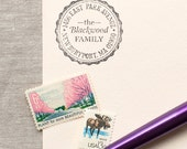 Self-Inking Address Stamp SCALLOP BORDER Design Interchangeable - classic round address stamp or wood handle stamp
