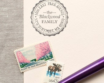 Self-Inking Address Stamp SCALLOP BORDER Design Interchangeable - return address stamp, classic round address stamp or wood handle stamp