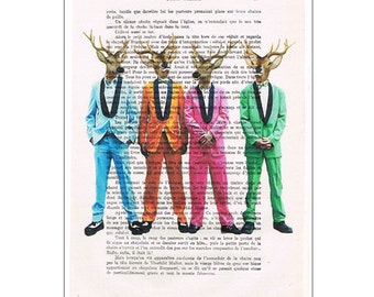 Rock & Roll Deers, deer painting, deer illustration, deer print, sixties art, sixties poster, deer poster, deer art, funny, Coco de Paris