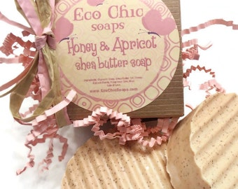 "Honey & Apricot Soap - Shea Butter Handmade Soap - Summer Gift Soap - ""Skin Friendly"" scrub"