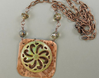 Hammered Copper Necklace Green Enameled Copper Medallion, Czech Glass Necklace, Copper Jewelry