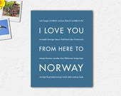 Gift for Men, Norway Poster Wall Art, Choose Canvas, Unframed or Framed //  I Love You From Here To NORWAY, Shown in Steel Blue