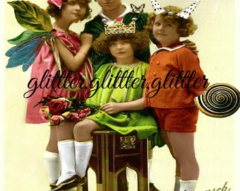 Fairy Family, vintage postcard altered art, print 8x10