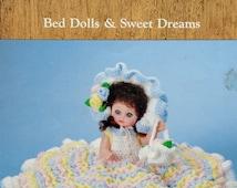 "Vintage 1980s Dumplin Designs ABBEY 13"" Bed Dolls & Sweet Dreams - Crochet Doll Dress Clothes Clothing Pattern"