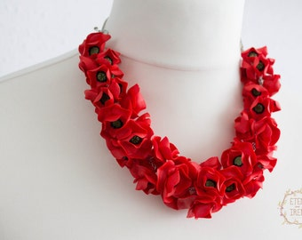 Red Poppies Bib Nacklace Women Polymer Clay Satement Bib Necklace Fashion Designer Jewelry Accessory Birthday Wedding Bridal Christmas Gifts