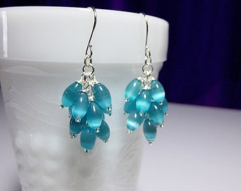 Aqua Blue Catseye Cluster Drop Earrings, Valentines Mothers Day Gift, Mom Sister Grandmother Jewelry Gift, Pretty