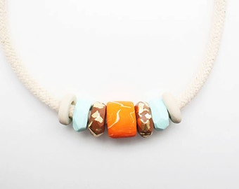 Color Revolution,  Polymer Clay Necklace, Tangerine, Caramel, Aqua and Sahara Cord Necklace
