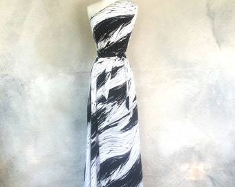 Vintage 60s black and white one shoulder maxi dress- summer long graphic dress - medium / large