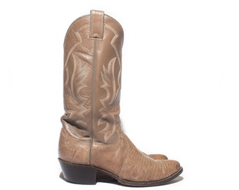8 D | Men's Justin Lizard Cowboy Boots in Taupe