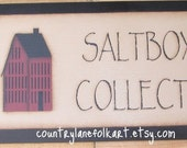 Hand painted sign, Salt box collector, painted wooden sign, Primitive home decor, primitive wood sign