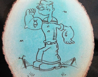 Popeye The Sailor Man Artisan Cartoon/Comics Pyrographic Plaque - OOAK Signed