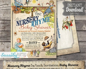 Nursery Rhyme Baby Shower Invitation - INSTANT DOWNLOAD - Editable & Printable Humpty Dumpty, Miss Muffet Invite by Sassaby Parties