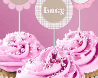 Cute as a Button 2 inch Party Circles - INSTANT DOWNLOAD - Editable & Printable Birthday Decorations by Sassaby