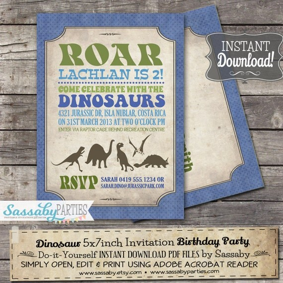Dinosaur party invitation instant download partially editable il570xn solutioingenieria Images