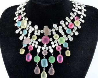 Incredible Rare Massive Vintage 1960s KJL Kenneth J Lane Drippy Frosted Glass Rhinestone Bib Necklace BOOK Piece!