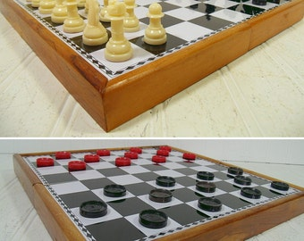 Vintage Metal Chess Board in Wooden Travel Case with Complete Staunton Design Magnetic Chess Men & Checkers Set - GameRoom Equipment Decor