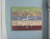 """Rustic, Modern, Earthy. Large RECTANGULAR  36"""" by 26"""" Wall Clock in Sage, Grey, and Reddish Brown. Pallet Wood Clock. CUSTOMIZE."""