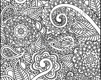 mehndi coloring page henna adult printable pdf original design drawing by katie n dunphy - Henna Coloring Pages