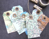 Map Tags, Travel Theme Wedding, Shower, Party Favor Tags, Gift Tags, Kraft Reinforcements, Cream Cardstock Backing, Rustic, Set of 12