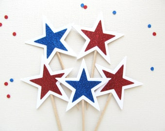 Red White and Blue Glitter Star Cupcake Toppers, Patriotic Party Decor, 4th of July,  Double-Sided, Set of 12