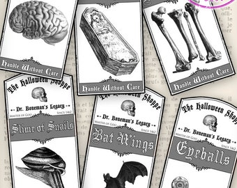 Halloween Apothecary Labels - printable / save ink - VDAPHA1117
