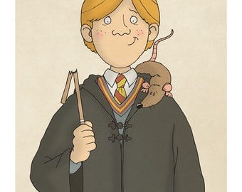 Ron Weasley and Scabbers -  Harry Potter Art - Harry Potter Prints - Harry Potter Decor -  Illustration Print