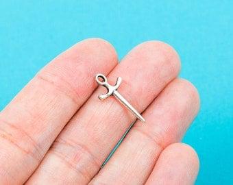 10 Small Silver Tone Metal FENCING SWORD Charm Pendants . 20 x 9mm . chs0241