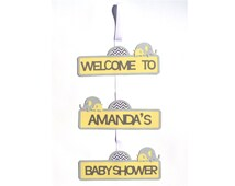 Baby Shower Elephant Themed Door Sign Personalized Baby Shower Decoration or Birthday