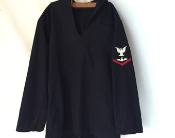 WWII Navy Wool Coat, Dress Top, Third Class Petty Officer with Patch