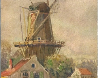 Windmill and a Swiss Country Cottage Scene Vintage Postcard