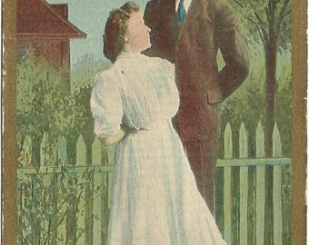 Short but sweet Vintage Postcard Great Image Engagement Announcements or Save The Date