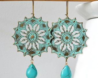 Turquoise Earrings Verdigris Patina Earrings Gypsy earrings Boho Earrings Bohemian Earrings Gypsy Drop Earrings bohemian Jewelry boho chic