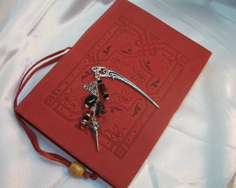 Celtic Raven Bookmark - Jewelry for your Books! with Polished Faceted Garnet Nugget