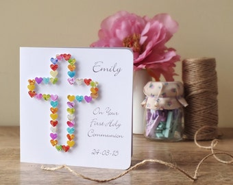 First Holy Communion Card - Personalised First Holy Communion Card with Name and Date, Handmade 3D CardsbyGaynor BHE20