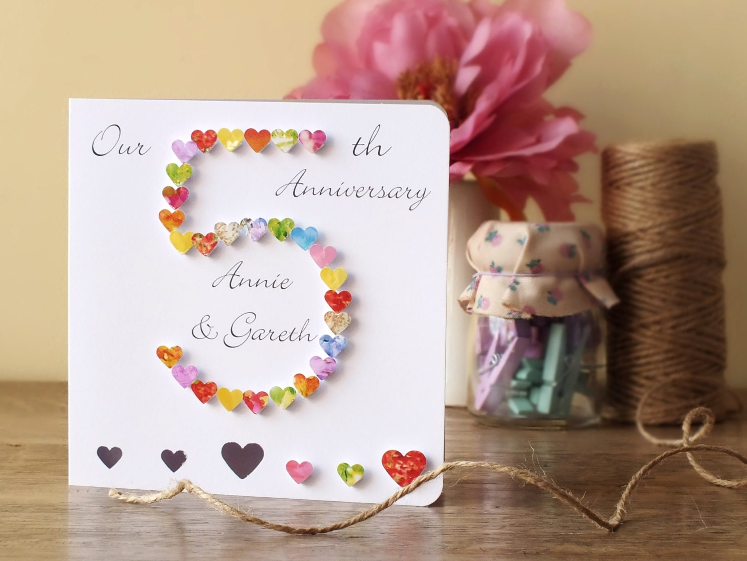 5th wedding anniversary card personalised 5th anniversary for Ideas for wedding anniversary gifts for husband