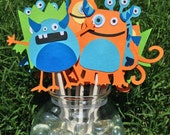 MADE TO ORDER Monster Party - Set of 12 Cupcake Toppers