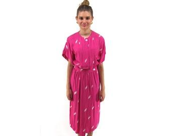 80s Paint Strokes Draped Dress, Midi, Pleated, Paint The Town Dress ΔΔ sm