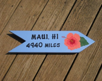 PERSONALIZED ISLAND SIGN, Custom Made Sign, Hand Painted Sign, Island Sign, Destination Sign, Arrow, Beach Sign Great Gift Idea, Unique Sign