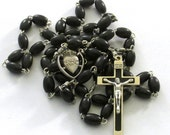 Catholic Black Wood Bead Sacred Heart Medal Black Inlay Crucifix Handmade Rosary