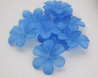 30mm Blue Frosted Lucite Flowers