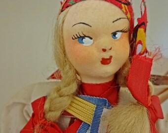 Vintage Doll, Vintage Zagred Side glancing Doll, International Croation Doll, Paper Mache Doll