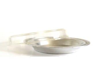 "Juice Saver Pie Pan Fesco Clear-Vu Plastic Storage Lid Dripless No Drip Pie Plates Aluminum Bakeware (as-is, see ""Item Details"")"