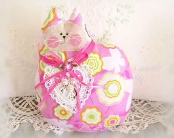 SALE Cat Pillow Doll 7 inch, Cloth Doll, PINK PRINT, Primitive Soft Sculpture Handmade CharlotteStyle Decorative Folk Art