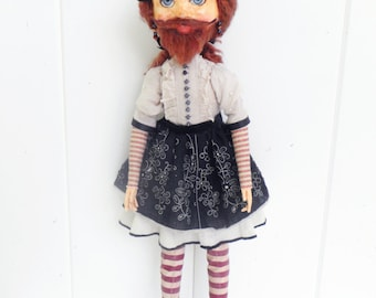 Distressed Bearded Lady Folk Art Doll Circus Art Freak Show