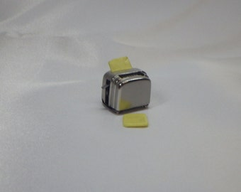 Toaster with 2 Slices of Bread Miniatures for Adult Fairy Garden or Dollhouse