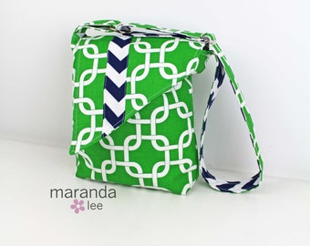 SALE Nori Flap Messenger Slouch Bag with Adjustable Cross Body Bag -Kelly Green Gotcha with Navy Chevron -READY to SHIP iPad Bag