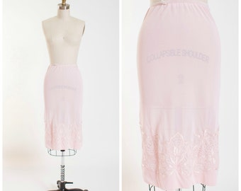 Vintage 1950s Pink Half Slip with Lace Border 50s Vintage Lingerie in Blush Pink Nylon Size Small
