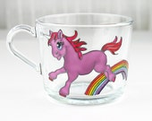 Glass Unicorn Mug, Hand Painted Mug, Coffee Mug, Tea Cup, Tea Mug, Unicorn Mug, Painted Coffee Mug, Unicorn design, Kids Mug, Children Mug