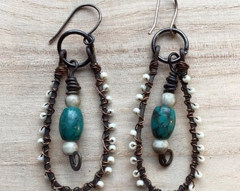 SAle. Boho Jewelry Gypsy Dangle Earrings, Tribal teardrop earrings wire wrapped bone beads, Rustic Bride primitive, turquoise blue, oxidized